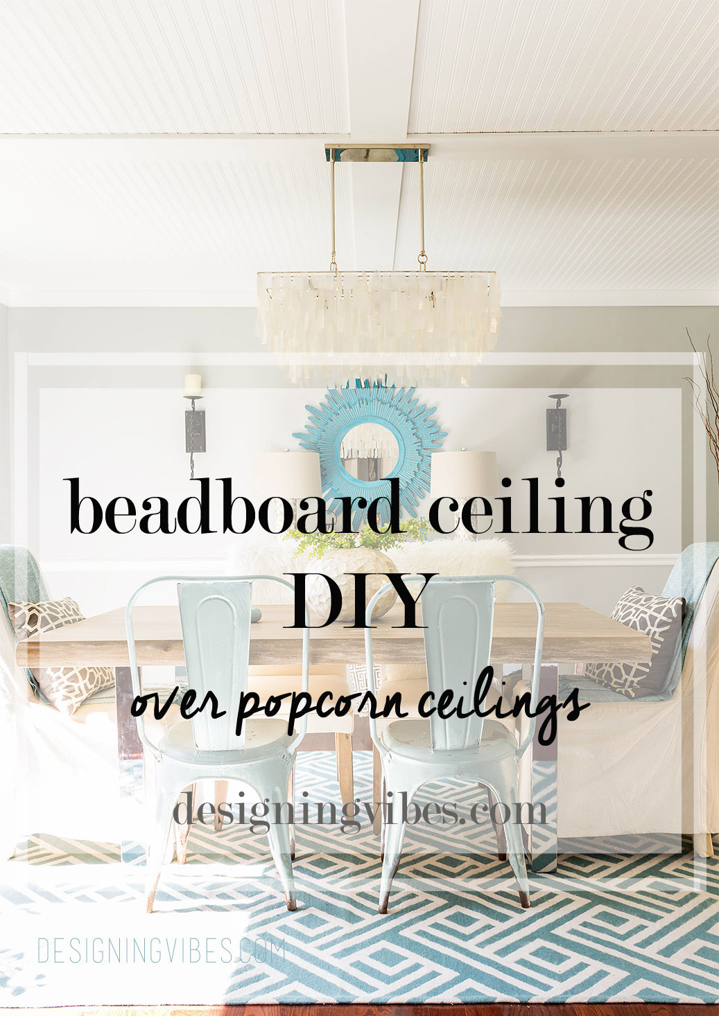 Beadboard Planks Over Popcorn Ceiling DIY