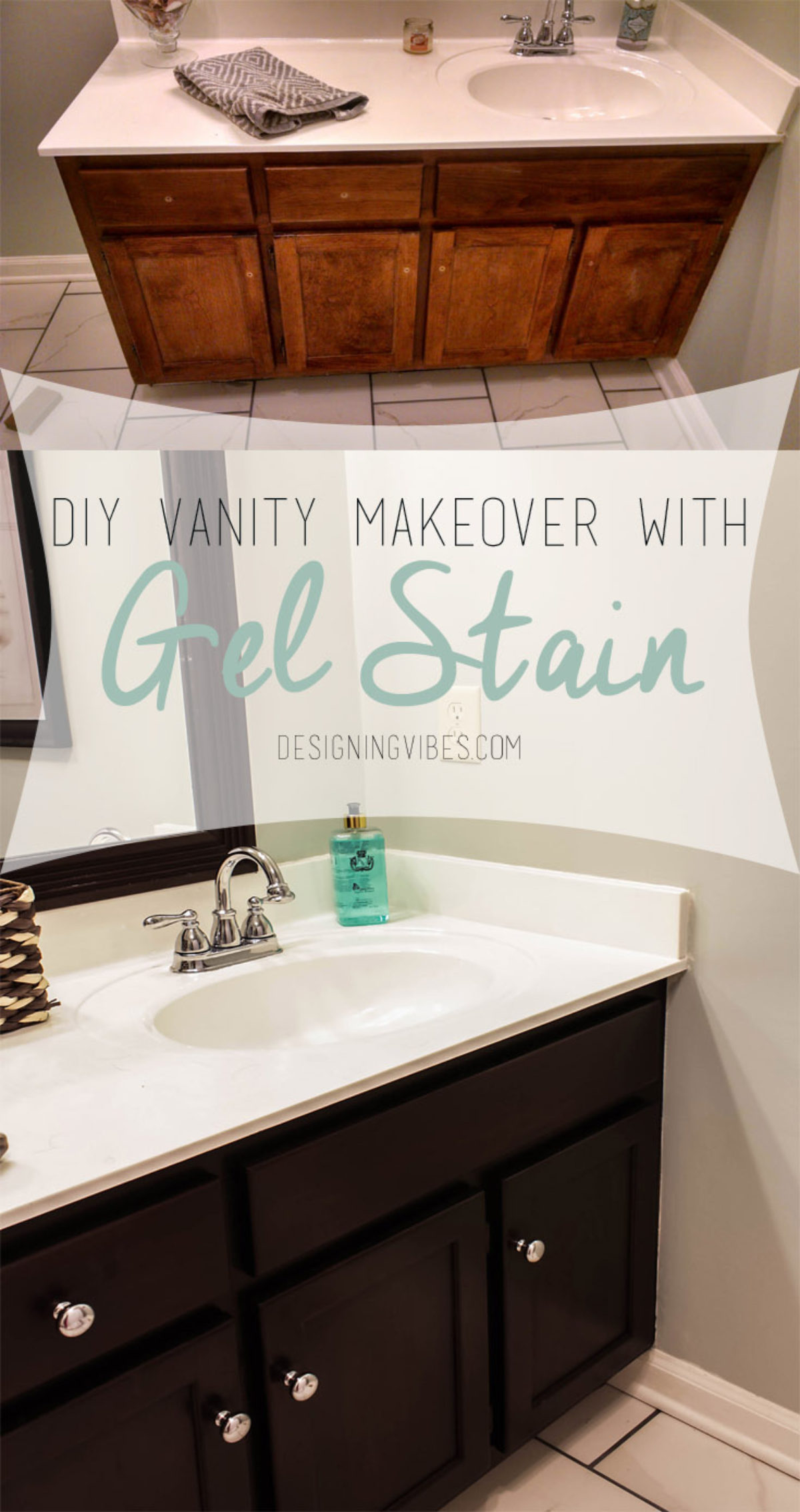 Transforming Bathroom Vanity With Gel Stain Java Gel Stain