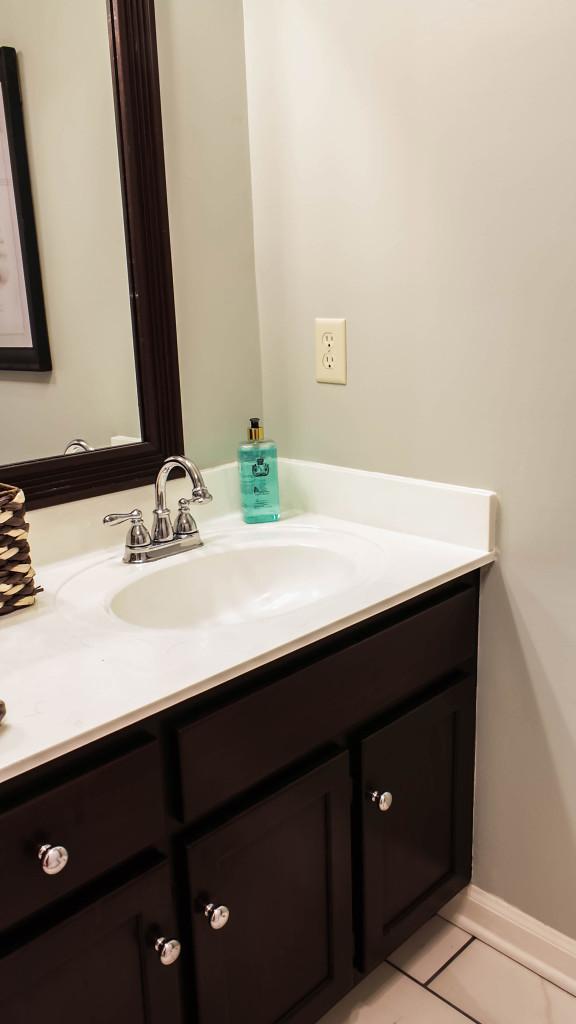 gel stain bathroom vanity