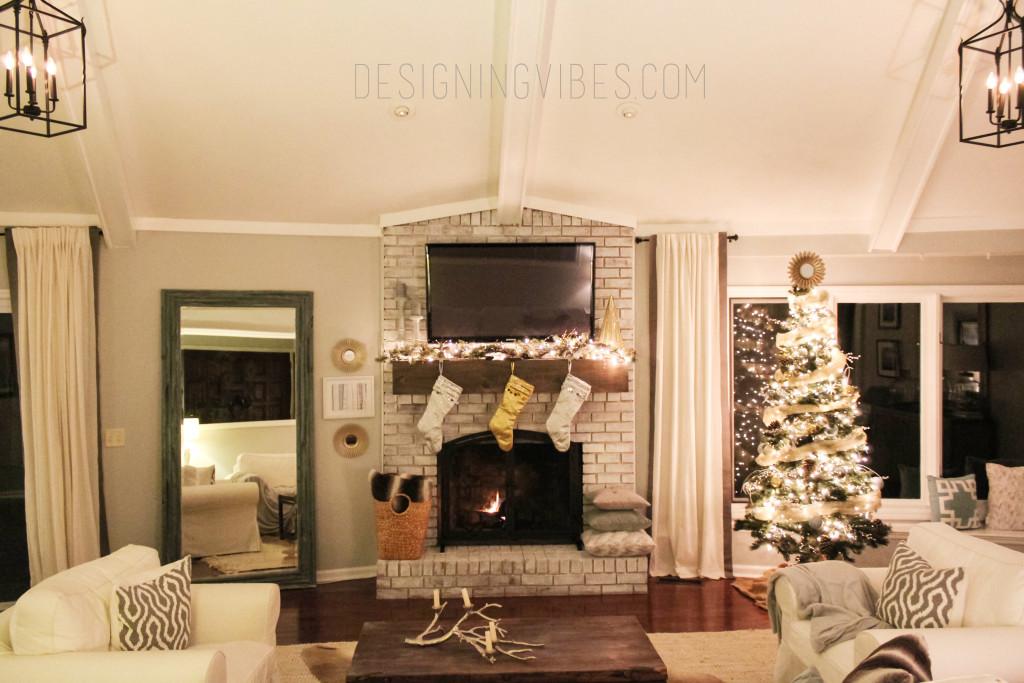 rustic glam christmas decor living room