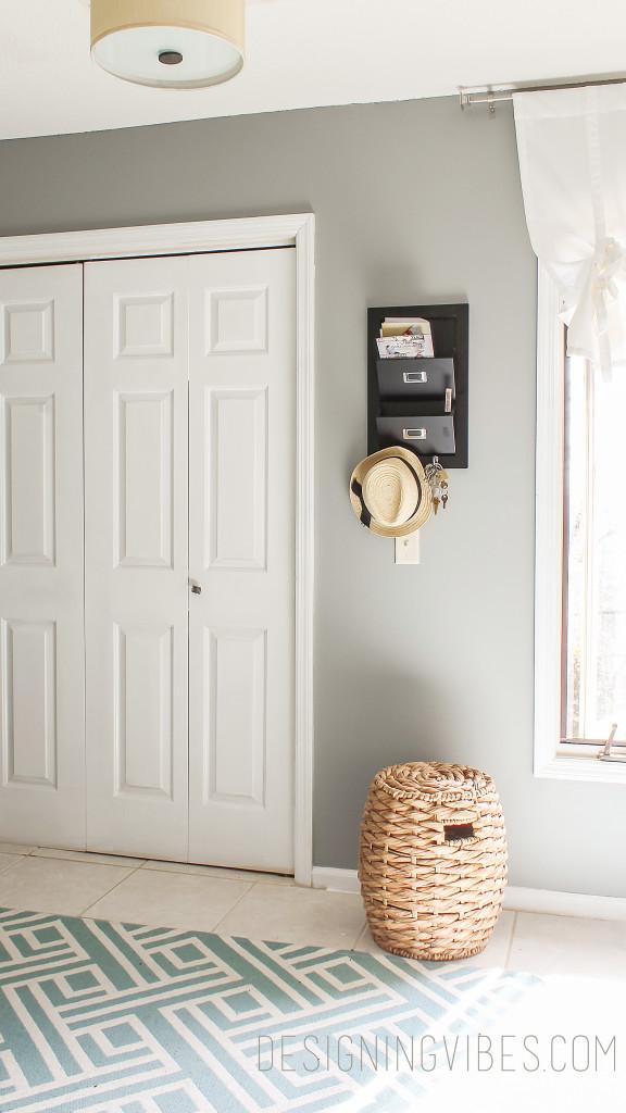 dark gray mud room painted in sherwin williams gray matters