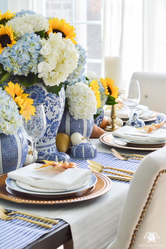 blue and white thanksgiving table