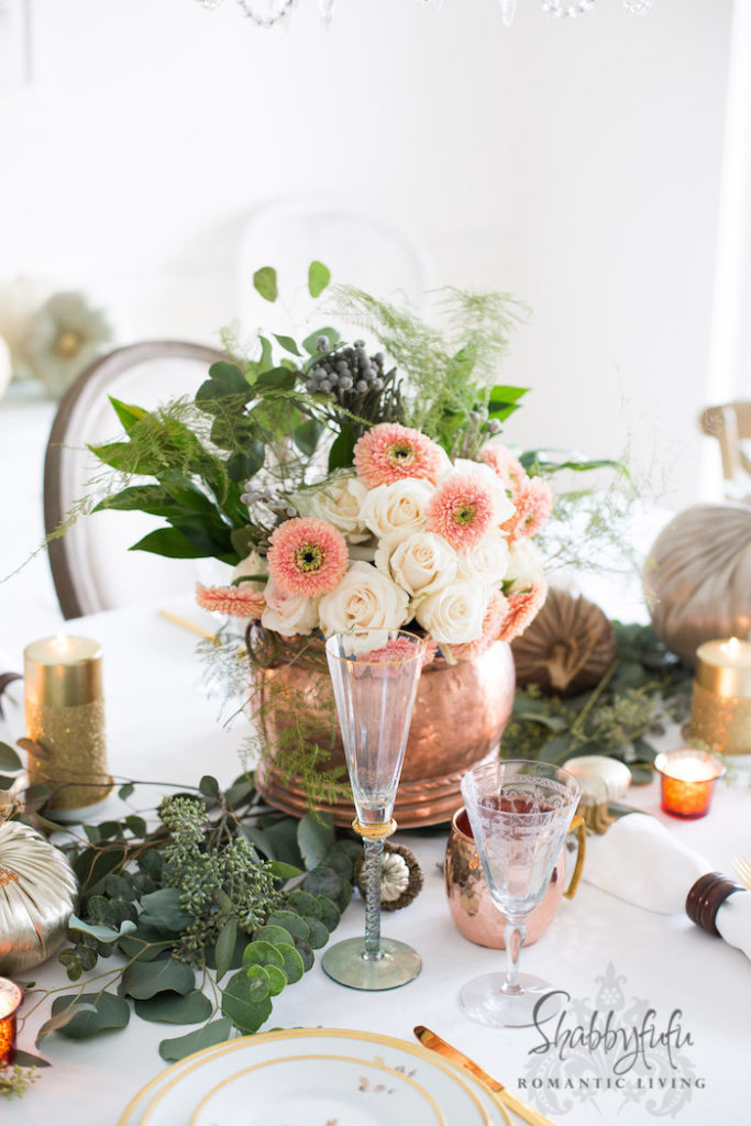 colorful glam thanksgiving decor for table