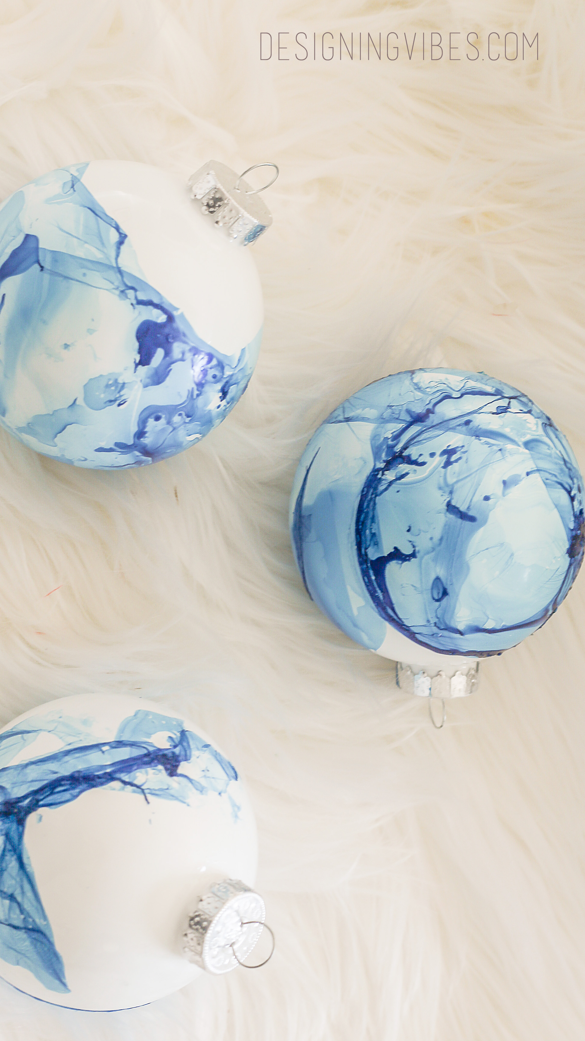 easy marbled christmas ornament diy