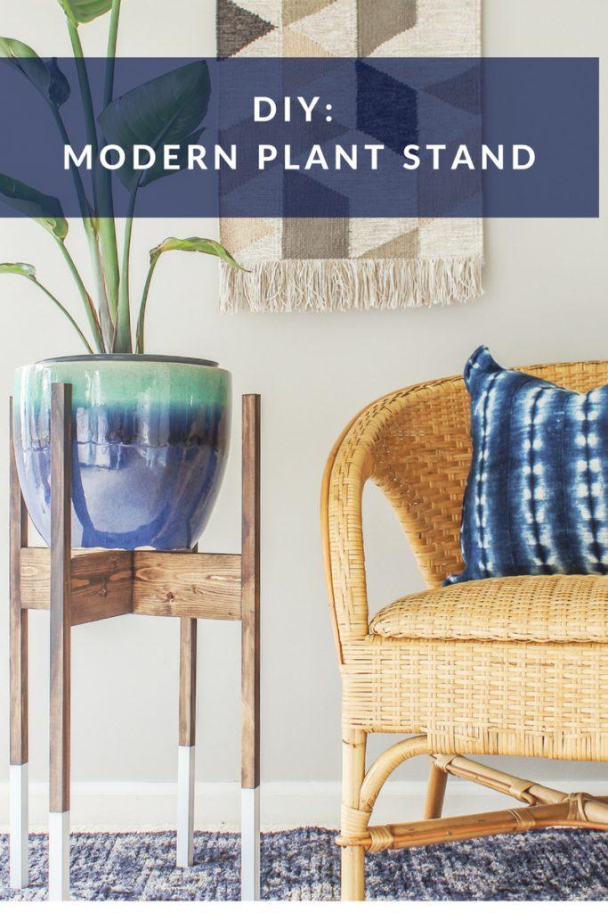 diy midcentury modern plant stand with wood dip-dye legs