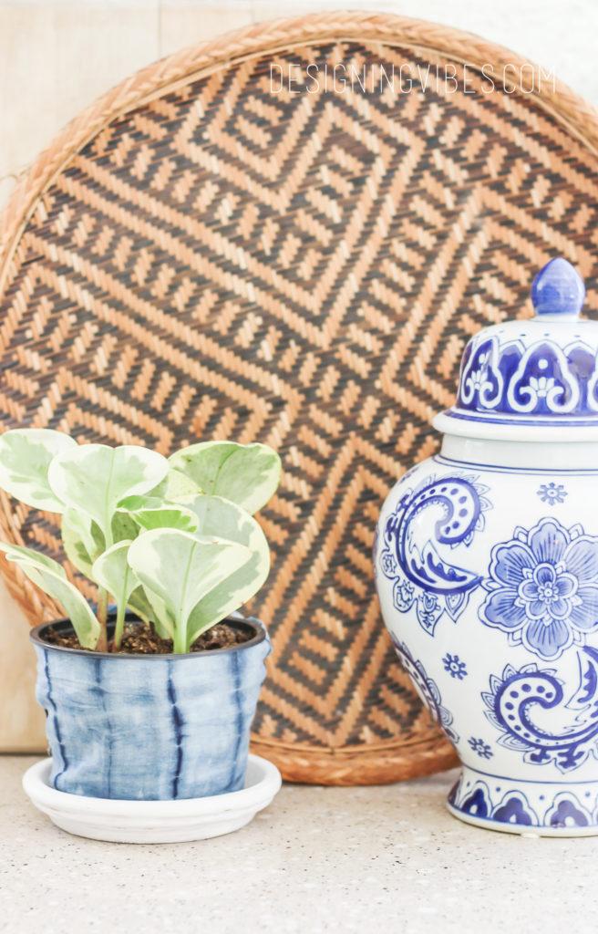 diy no-sew fabric shibori planter