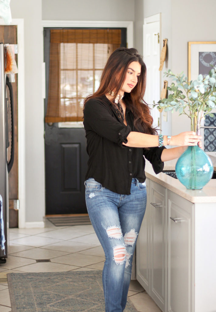 boho chic kitchen makeover on a low budget