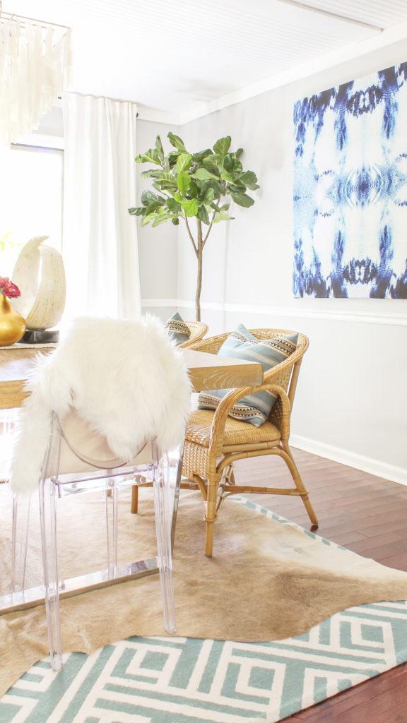 boho coastal dining room decor