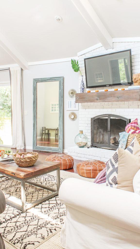 pink and orange modern boho fall decor