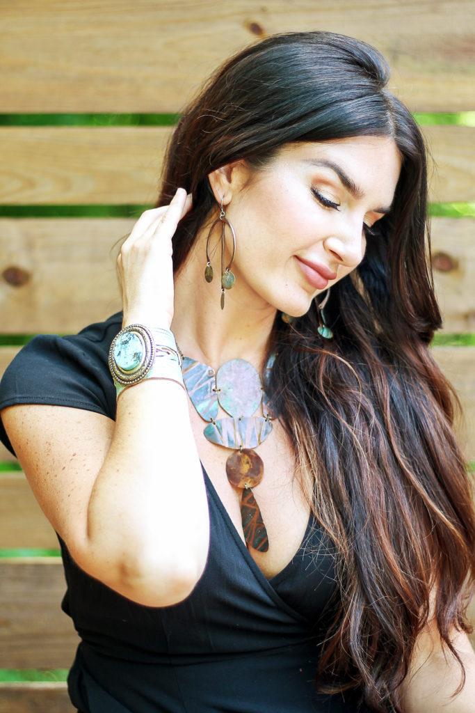Erica Van Slyke of Designing Vibes wearing Spun Jewelry