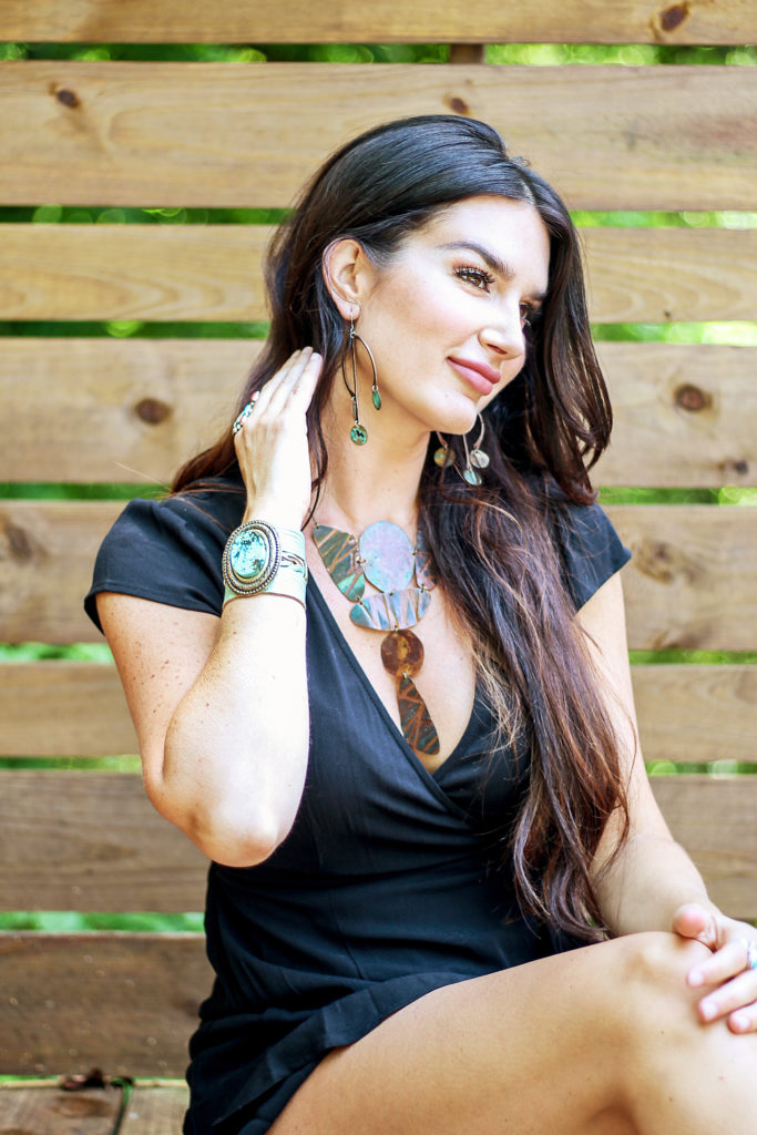boho statement jewelry by Spun worn by Erica Van Slyke