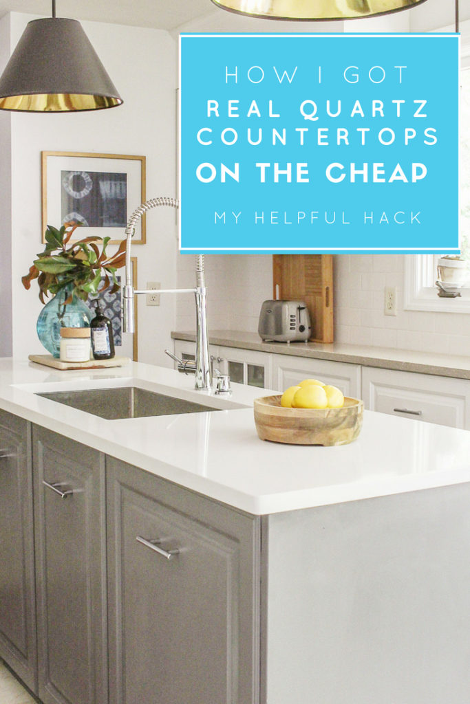 how I got my quartz countertops on the cheap. modern farmhouse kitchen on a budget.