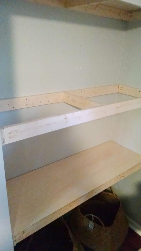 DIY book shelves in a nook