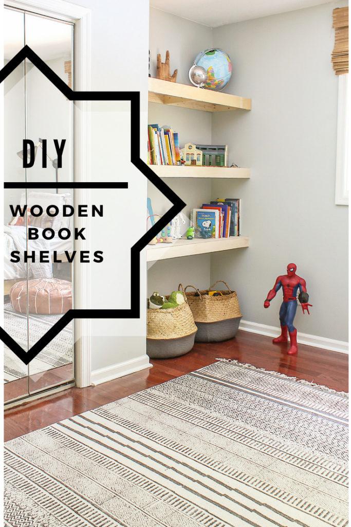 DIY wooden book shelves for a nook or alcove
