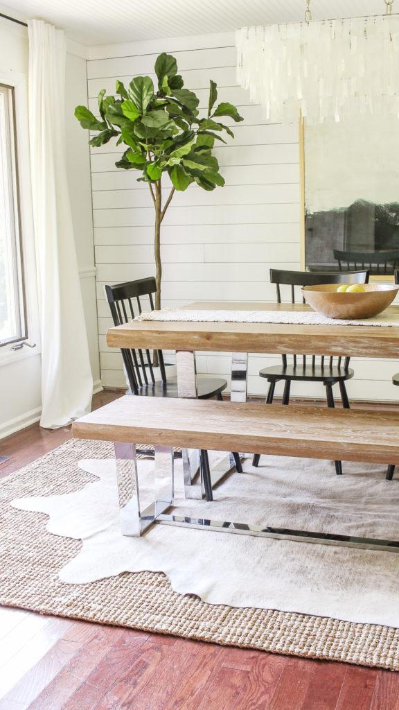 modern glam farmhouse dining room. how to make farmhouse decor look cool.
