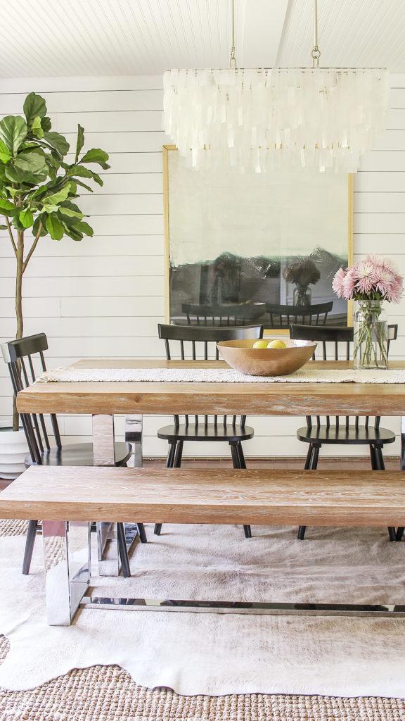 modern farmhouse dining room reveal. coastal glam decor ideas.