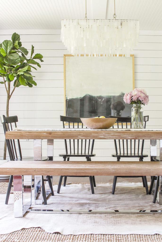 modern glam farmhouse meets coastal rustic dining room