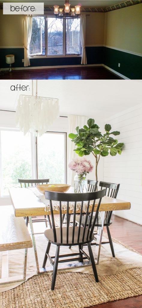 DIY affordable modern farmhouse dining room makeover