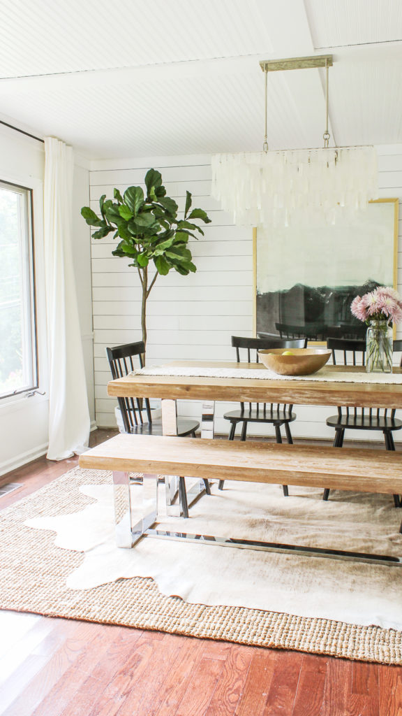 modern glam farmhouse dining room on a budget
