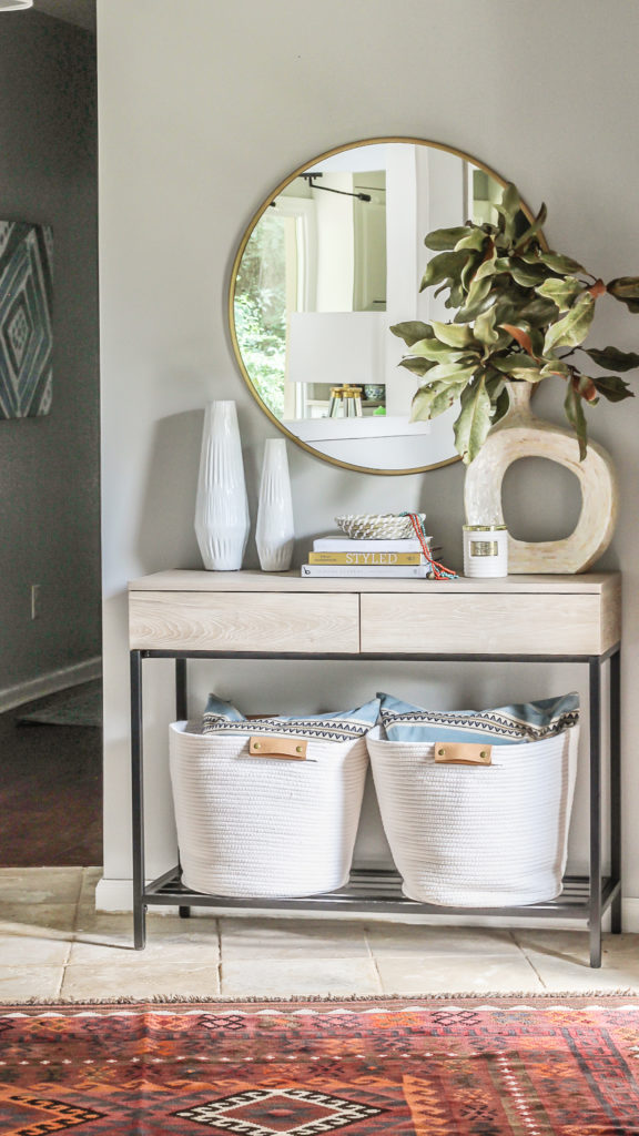 boho modern foyer styling with natural decor