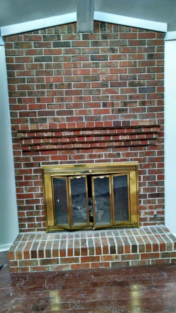 how my painted brick fireplace has held up