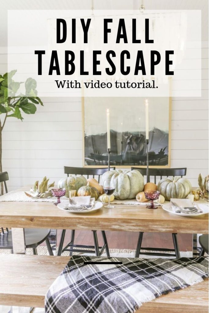 neutral Thanksgiving table with modern farmhouse decor