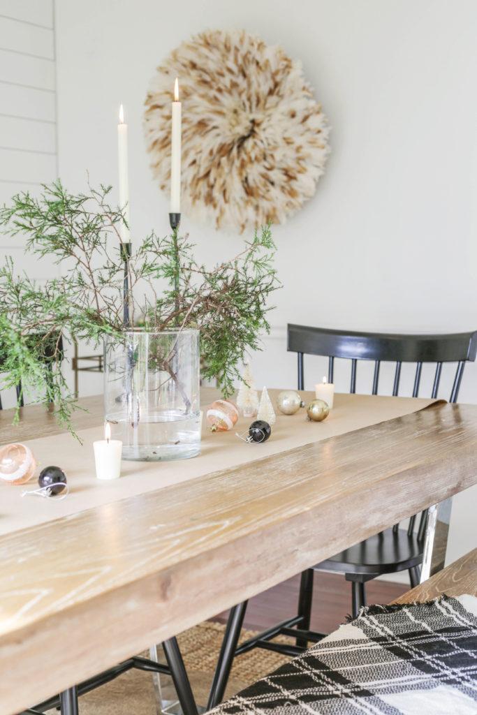 modern organic christmas table decor