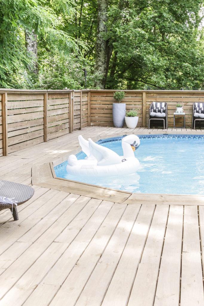 modern farmhouse pool deck