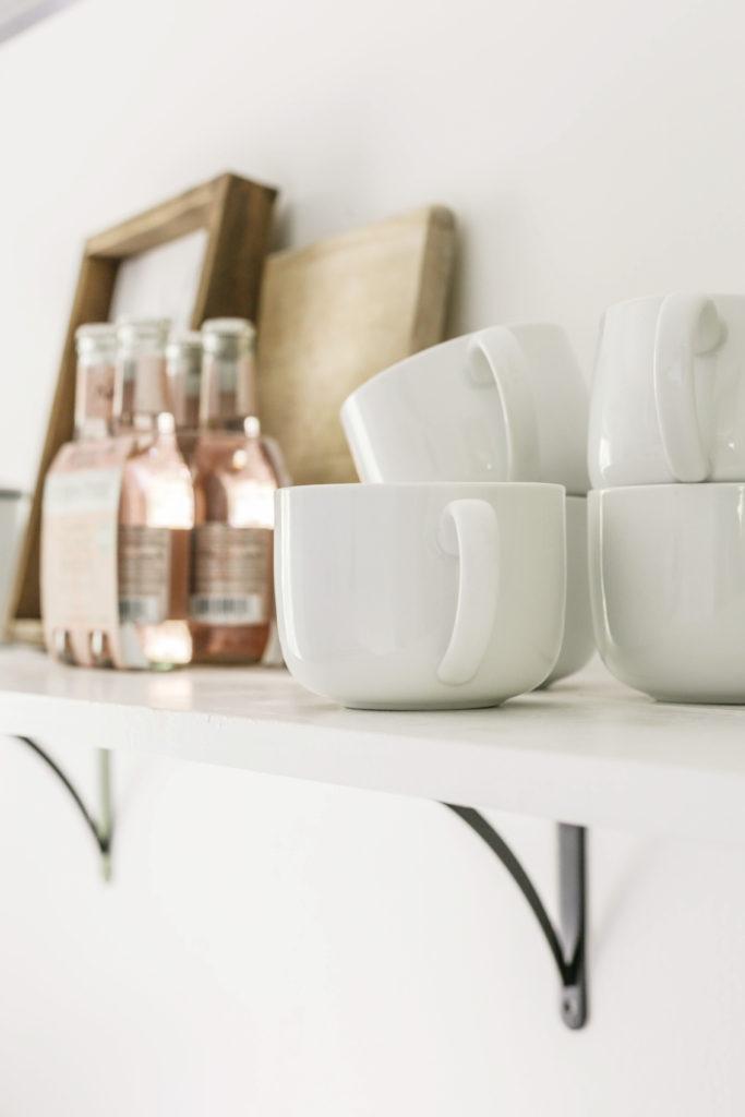 diy open shelves in farmhouse kitchen