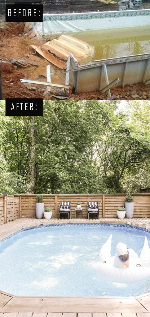 diy pool deck transformation