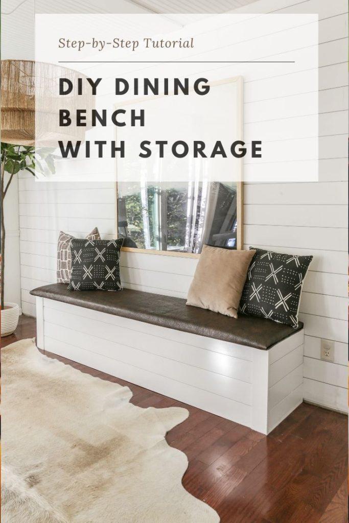 diy dining bench with storage tutorial
