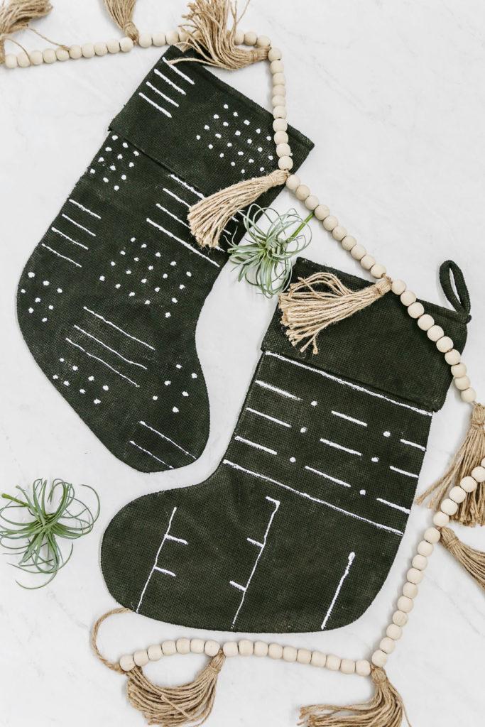 diy no-sew mudcloth stockings