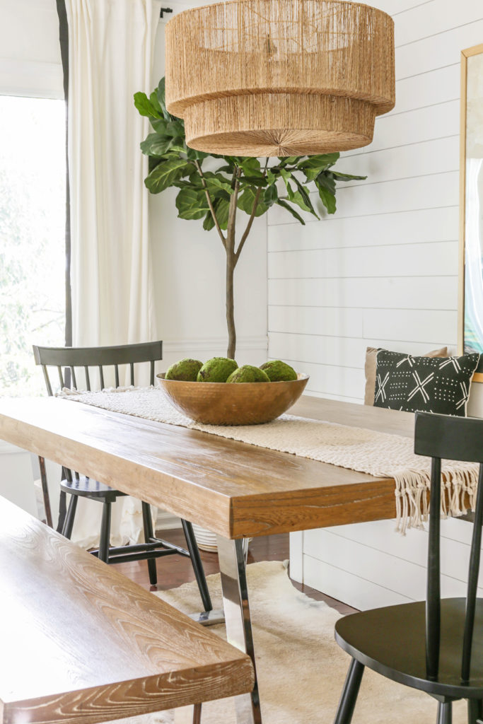 modern organic dining room with banquette