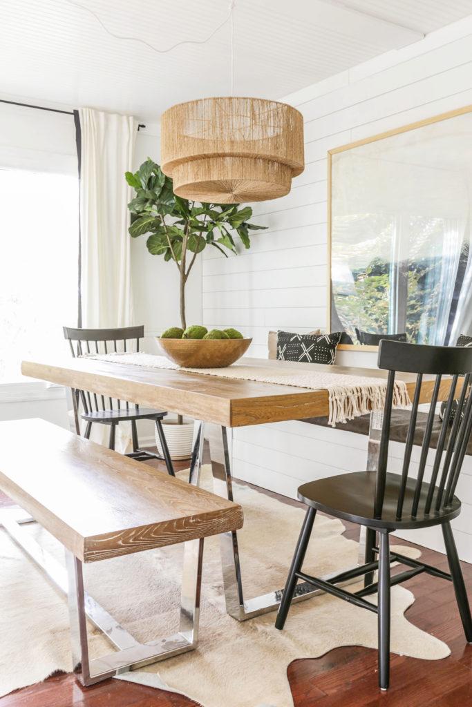 modern farmhouse breakfast nook with storage