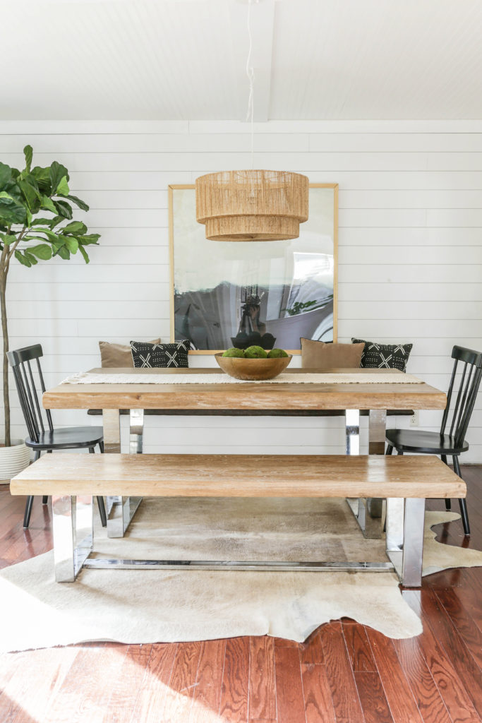 modern farmhouse dining room with banquette