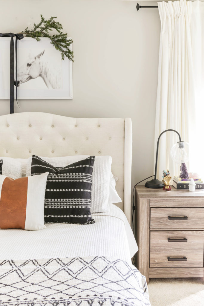 boho chic christmas decor in the bedroom