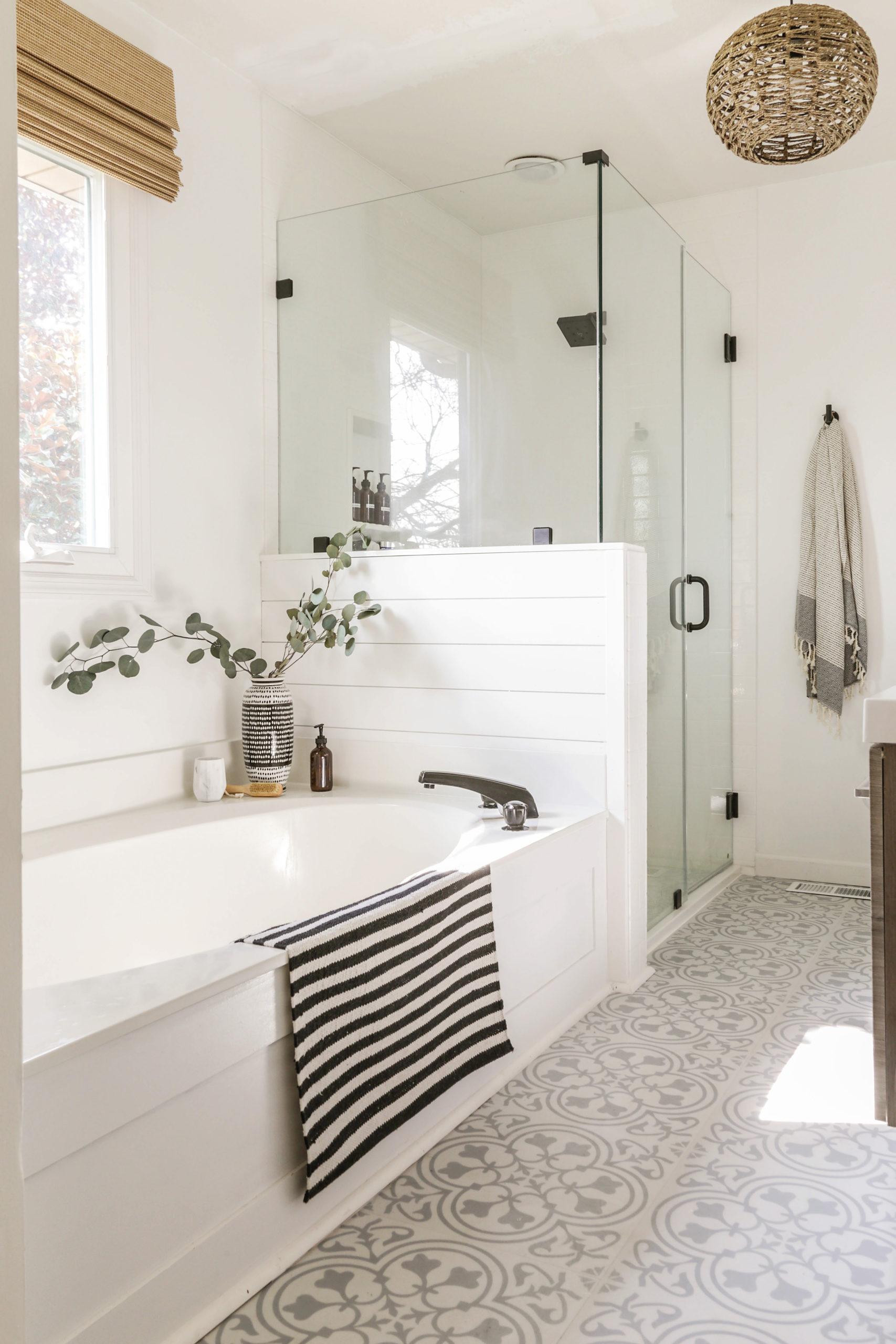 Reveal Boho Farmhouse Master Bathroom Remodel With Decor Sources
