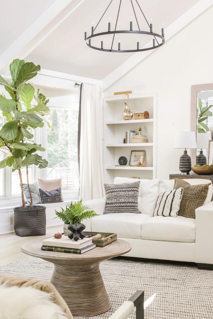 neutral modern farmhouse living room makeover
