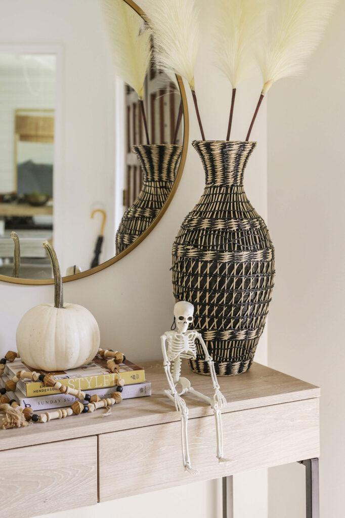 neutral boho halloween decorating