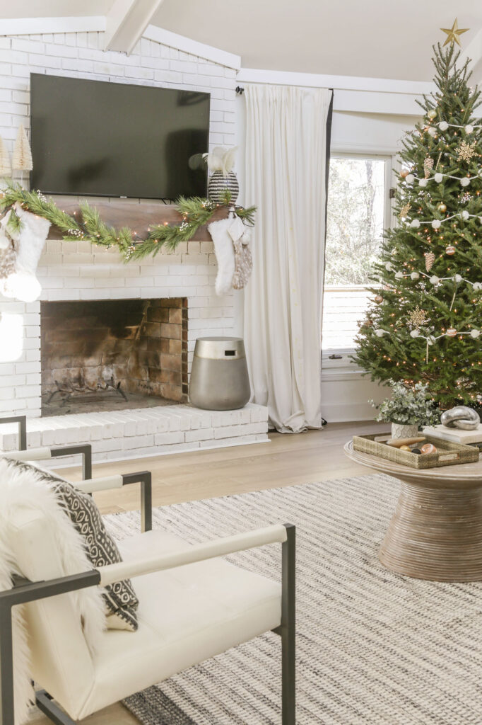 neutral glam christmas mantel decor