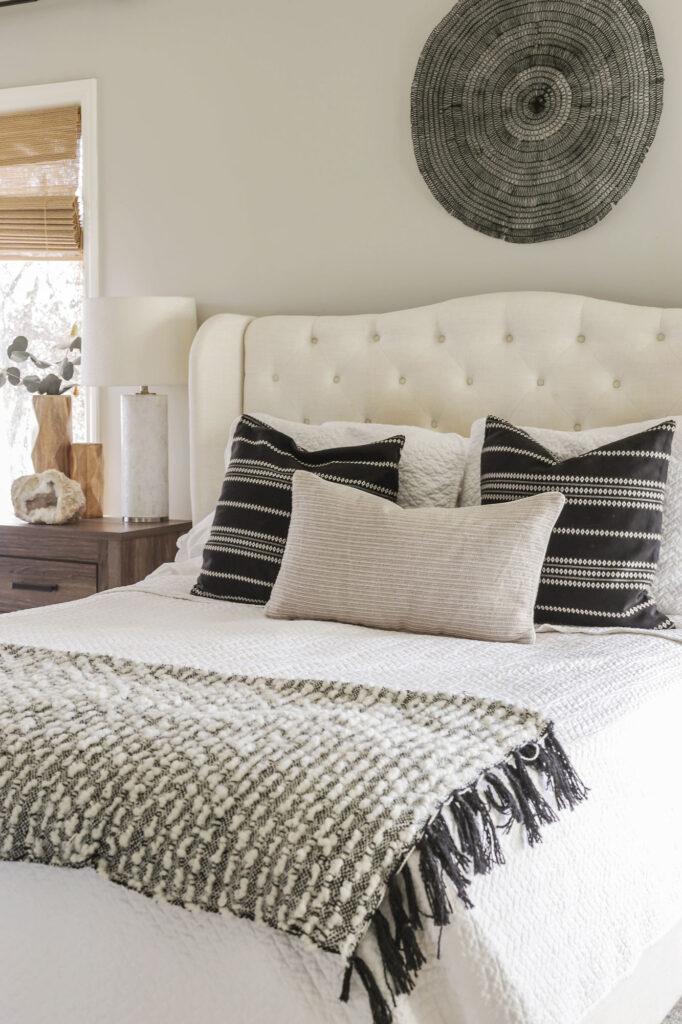 black and beige bedroom decor