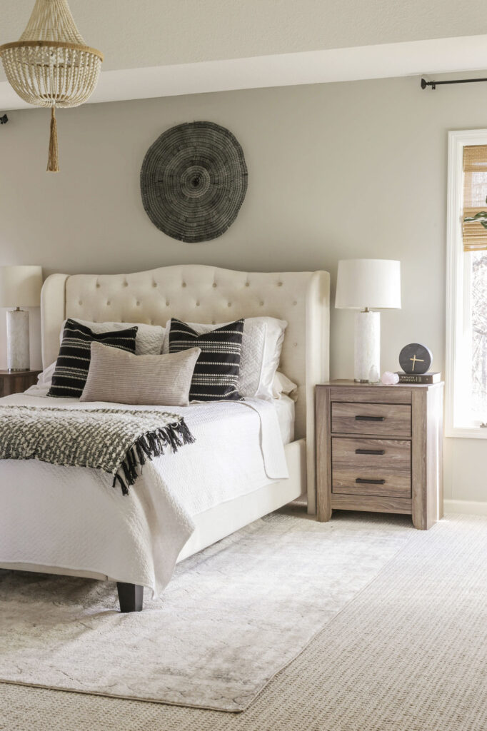 boho chic bedroom with grey walls