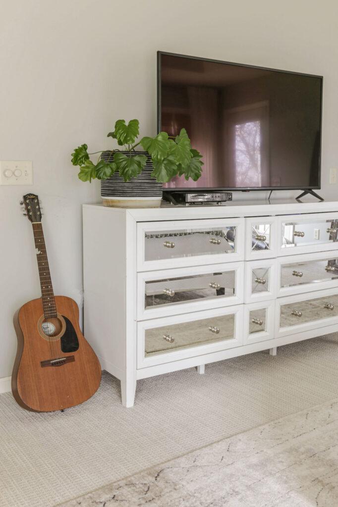 tv on dresser in bedroom styling ideas
