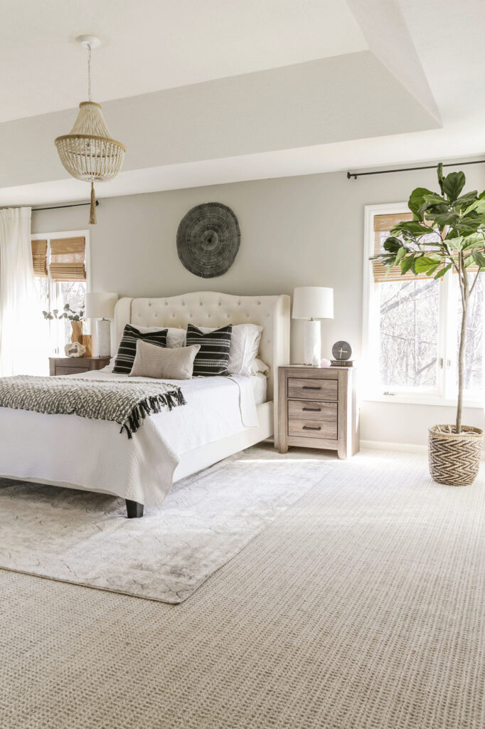 neutral modern bedroom with carpet