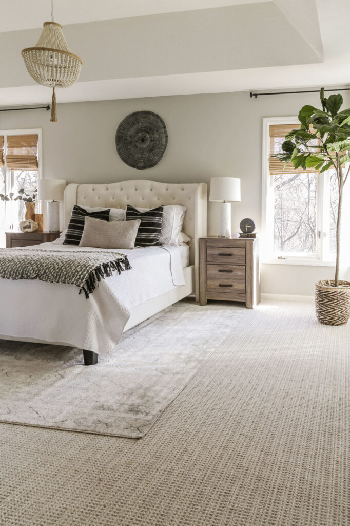 bedroom with grey walls and carpet