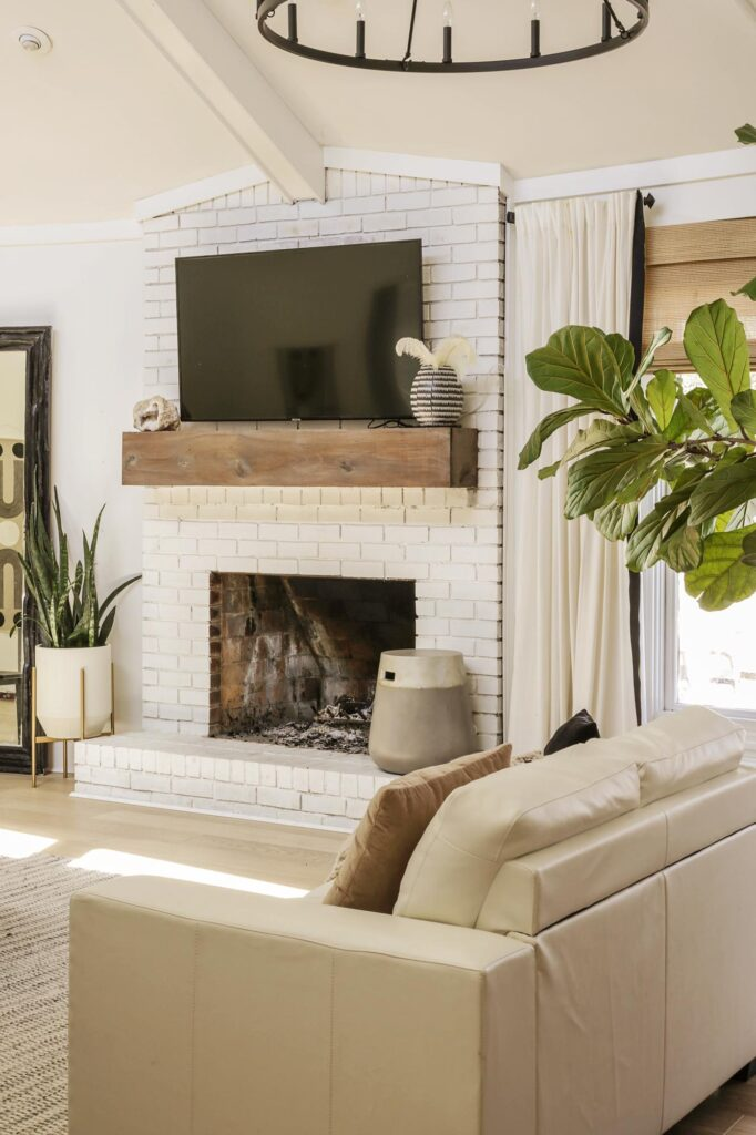 modern farmhouse living room with white walls