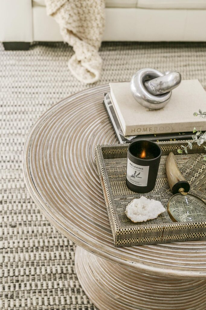 coffee table styling for a boho modern living room