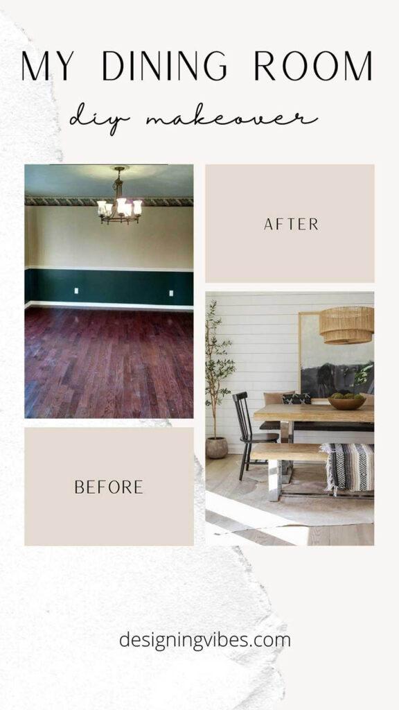 modern farmhouse dining room makeover on a diy budget