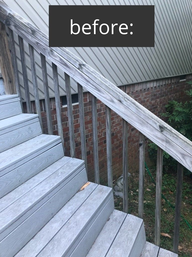 deck makeover with gel stain on stair rail ideas
