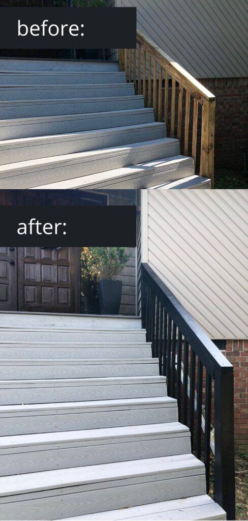 black gel stain on wood deck rails diy